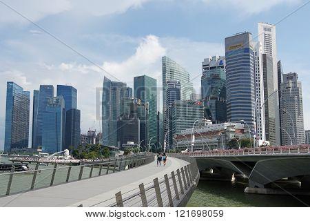 SINGAPORE, ASIA - MAY 14, 2015: Skyline of the metropolis Singapore on May 14, 2015 in Singapore, Asia
