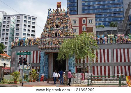 SINGAPORE, ASIA - MAY 14, 2015: Sri Veeramakalimamman Temple, one of the sights of Little India on May 14, 2015 in Singapore, Asia