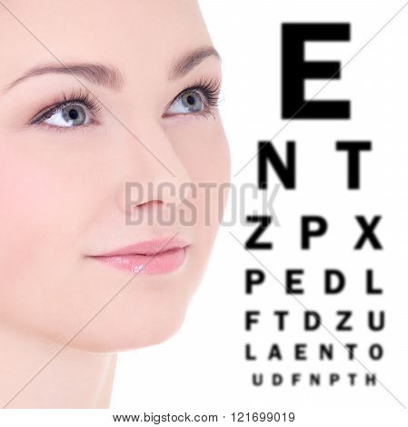 Close Up Portrait Of Beautiful Woman And Eye Test Chart Isolated On White