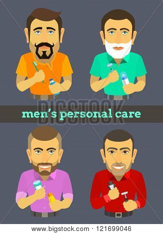 different male characters with hygiene items