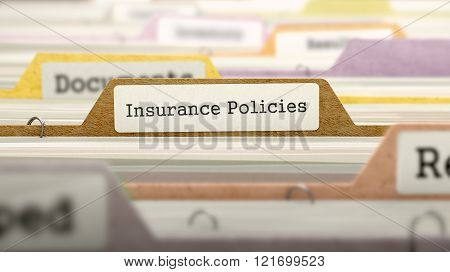 Insurance Policies Concept on File Label.