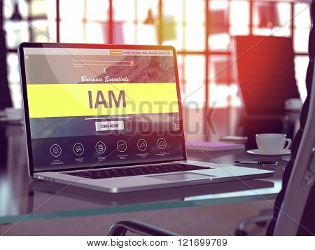 Laptop Screen with IAM Concept.