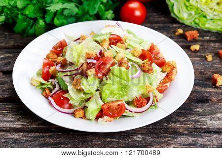 Fresh healthy Classic Caesar salad on plate