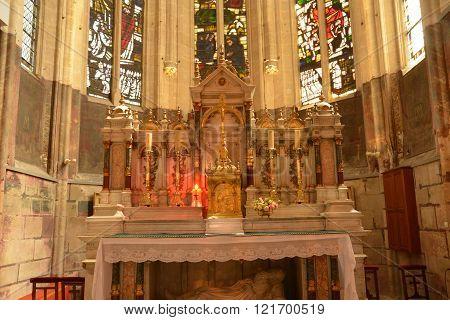L Isle Adam, France - June 4 2015 : Saint Martin Church Interior