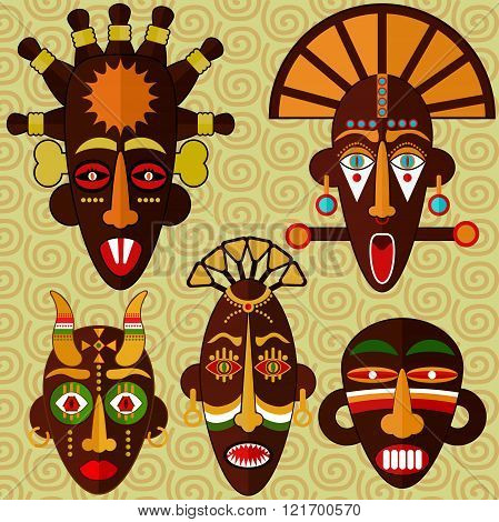 African masks collection. Five different african masks on pattern background. Traditional masks.