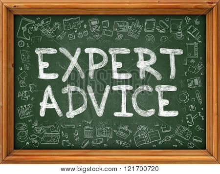 Expert Advice - Hand Drawn on Green Chalkboard.