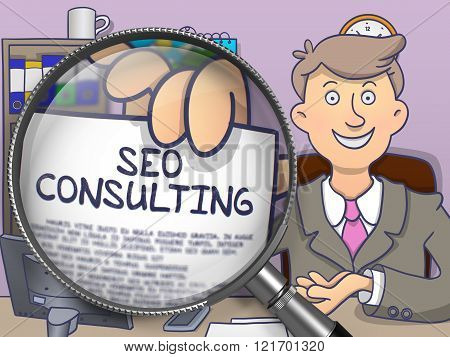 SEO Consulting through Lens. Doodle Design.