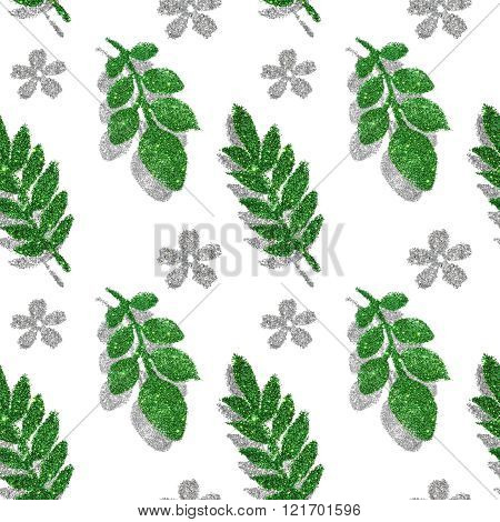 Leaves and flowers of green and silver glitter on white background, seamless pattern