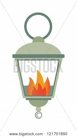 Street fire lamp isolated on white background flat vector illustration.