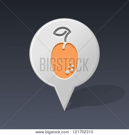 Plum Pin Map Icon. Fruit Vector Illustration