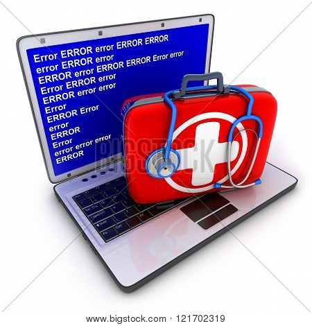 Laptop error and first-aid kit