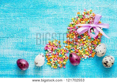 Easter Eggs Composition Of Confectionery Sugar Topping And Quail Eggs