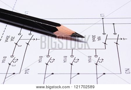 Pencil Lying On Electrical Diagrams