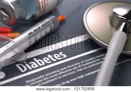 Diabetes. Medical Concept on Grey Background.