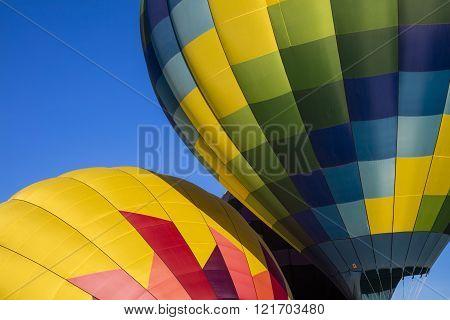 Up close abstract of hot air balloons