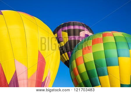 Abstract trio of hot air balloons