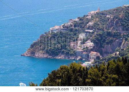 Panoramic view of the Amalfi Coast in Italy