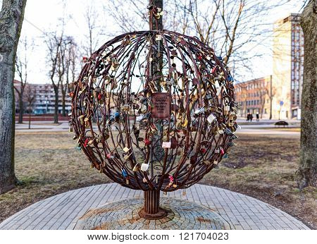 KLAIPEDA LITHUANIA - 01 MARCH 2016: The tree of farriers. Monument in the Old Town district along the Danes river quay. Klaipeda Lithuania.
