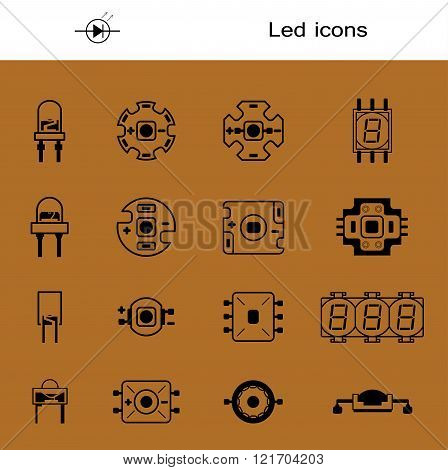 Vector set of LEDS. Icons for light-emitting economical LED lamps. Big collection led diodes for bul