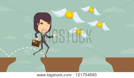 Woman jumping across a gap