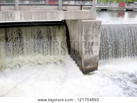 Falls water discharge from the dam on the Rideau Canal in Smiths Falls in Ontario Canada