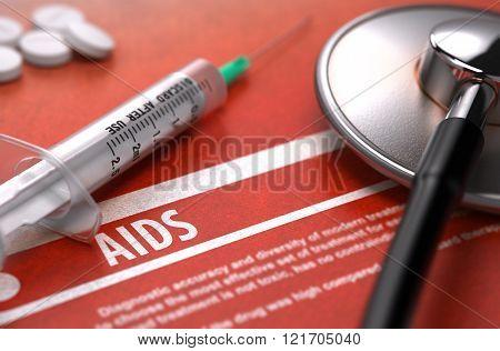 AIDS. Medical Concept on Orange Background.