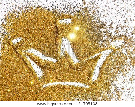 Abstract crown of golden glitter on white background