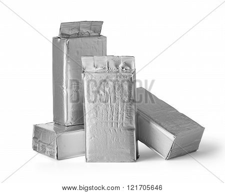 aluminum bag package on white background. with clipping path