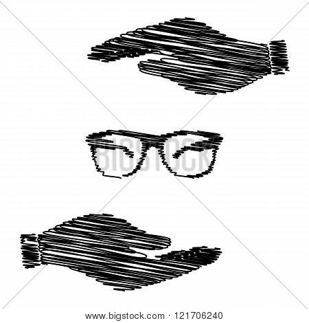 Sunglasses sign. Save or protect symbol