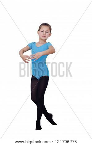 Ballerina Girl 6 years. Positions in the ballet. Pretty Ballerina practicing her positions isolated