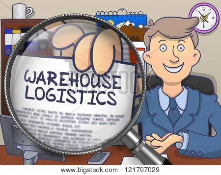 Warehouse Logistics through Magnifier. Doodle Style.