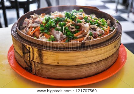 Chinese Food - Steamed Rice With Vegetables And Meat