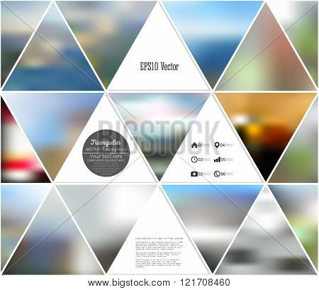 Abstract multicolored background of blurred nature landscapes, geometric vector, triangular style il