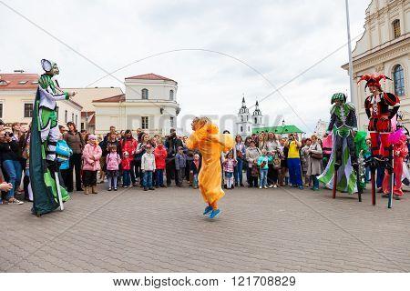 Minsk, Belarus, 11-may-2014: Festival Of Street Theaters In Minsk, Belarus.