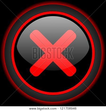 cancel black and red glossy internet icon on black background