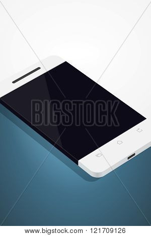 Minimalistic illustration of phone in flat style. perspective view. Mockup generic smartphone. Template for infographics or presentation UI design