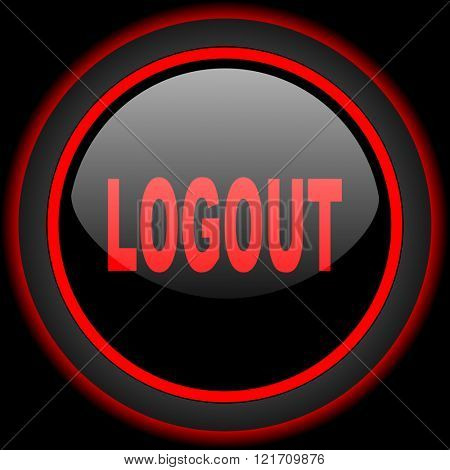 logout black and red glossy internet icon on black background