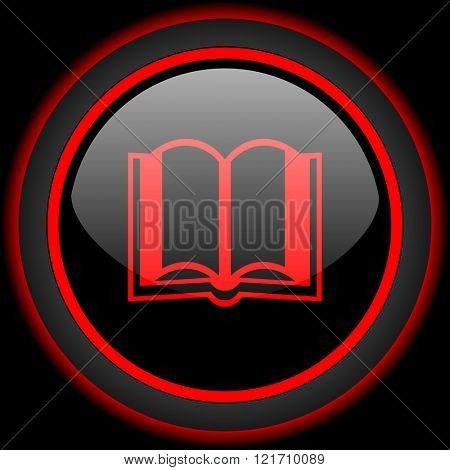book black and red glossy internet icon on black background