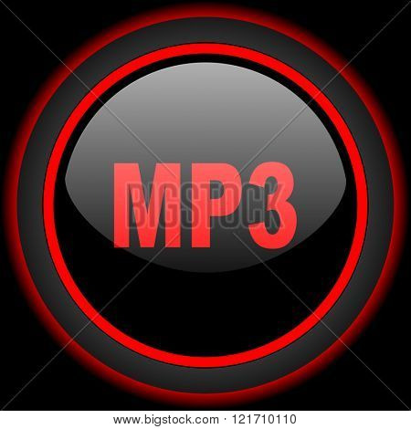 mp3 black and red glossy internet icon on black background
