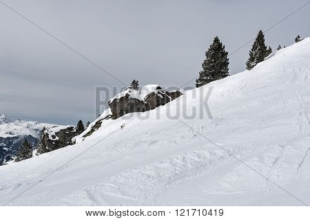 Steep slope with snow, rocks and trees in the Alps, Austria (Zillertal Arena)