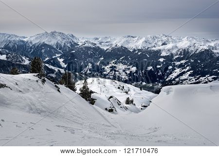 View on the valley of the Zillertal from the mountains, Zillertal Arena, Austria