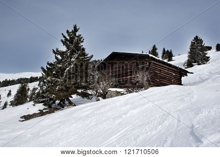A wooden barn on the snowy slopes of the Karspitz Mountain viewed from below, Zillertal, Austria
