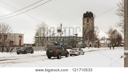 Novaya Ladoga, Russia - 23 February, Street provincial town, 23 February 2016. Tourist places in the great ancient route from the Vikings to the Greeks.Church Clement of Rome and Peter of Alexandria. Gold ring of Russia.
