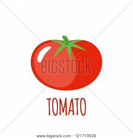Tomato Icon In Flat Style On White Background