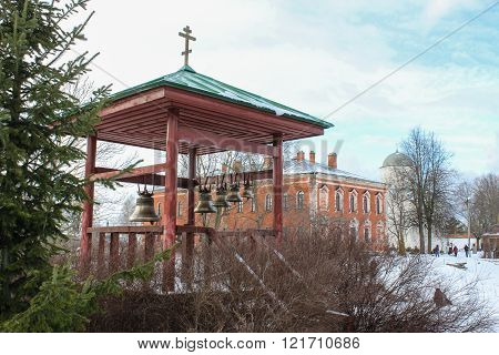 Staraya Ladoga, Russia - 23 February, Open monastery bell tower, 23 February 2016. Tourist places in the great ancient route from the Vikings to the Greeks.Staroladozhsky Holy Assumption nunnery. Gold ring of Russia.