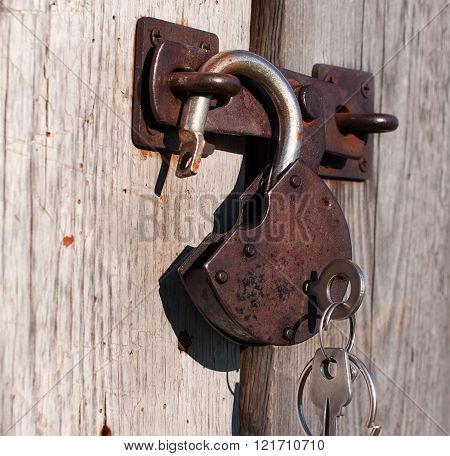 Open Padlock With Keys.