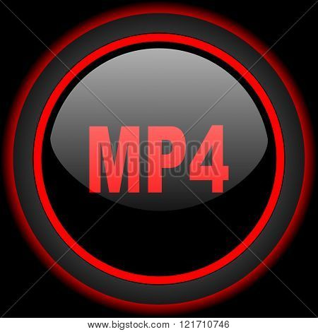 mp4 black and red glossy internet icon on black background