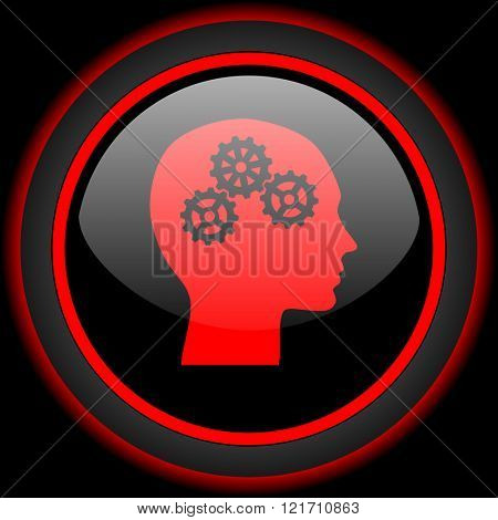 head black and red glossy internet icon on black background