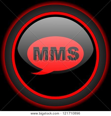 mms black and red glossy internet icon on black background