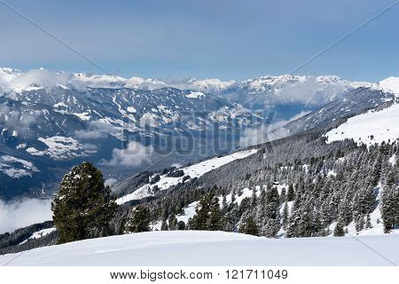 A wide panorama of the Zillertal from the snowy slopes of Karspitz Mountain, Austria